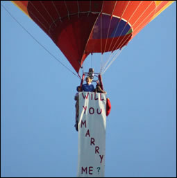 Hot air balloon proposal flight